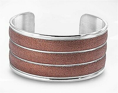 Brown WIDE Bangle Cuff Stainless Steel Bracelet