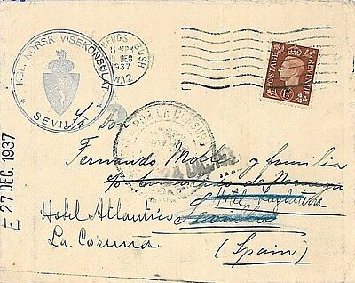 GB -  POSTAL HISTORY : COVER to SPAIN - REDIRECTED & CENSORED 1938
