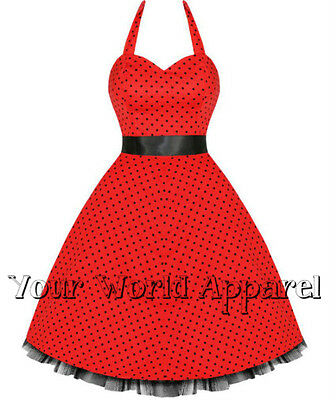 H&r London Red With Black Polka Dots Pinup Rockabilly Prom Swing 0211 Vintage
