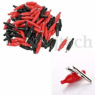 100pcs Alligator Crocodile Lead 28mm Test Clip For Electrical Jumpers Cable Wire