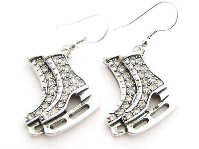 Ice Skates Silver Plated Clear Crystal Earrings Jewelry Figure Skating Hockey