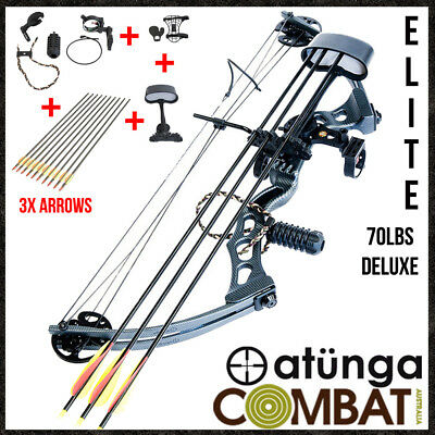 NEW Elite Black 70lbs Compound Bow & Arrow Deluxe Pack Archery Hunting