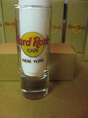 """Hard Rock Cafe 4"""" Tall Double Shot Glass & Box Black Letters New York # 34"""