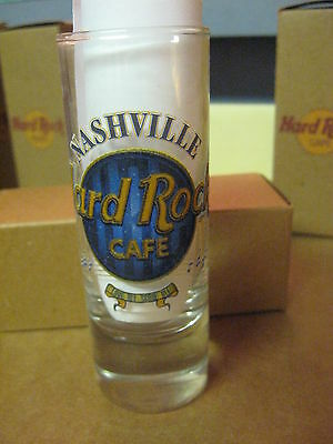 "Hard Rock Cafe 4"" Tall Double Shot Glass & Box Blue Nashville # 39"
