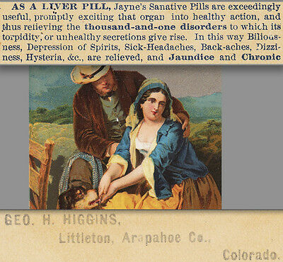 1800's Littleton Colorado Higgins Drug Hysteria Liver Depression Cure Trade Card