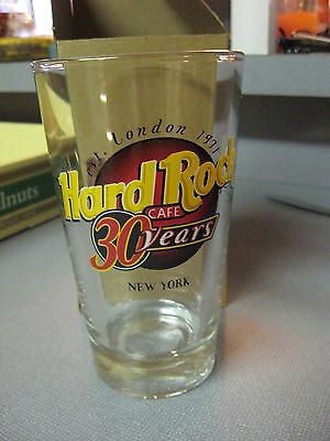 Hard Rock Cafe Clear Beer Glass 30 Year Anniversary HRC Black Letters New York