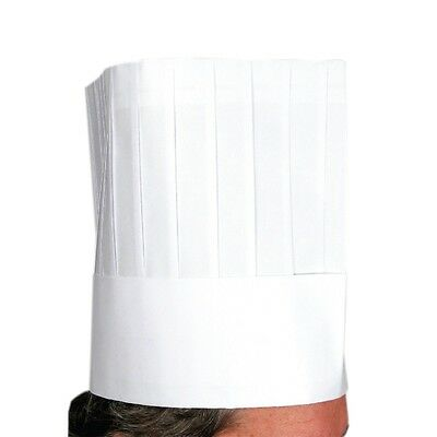 "Disposable Chef's Hat, 9"", 10 Hats White Cooking Food Serving Paper Hats"
