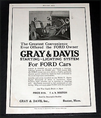 1914 Old Magazine Print Ad, Gray & Davis Starting-Lighting Systems For Fords!