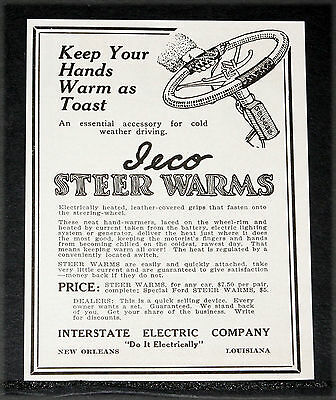 """1914 Old Magazine Print Ad, Ieco Steering Wheel """"steer Warms"""" For Toasty Hands!"""