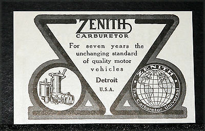 1914 Old Magazine Print Ad, Zenith Carburetors, Unchanging Standard Of Quality!