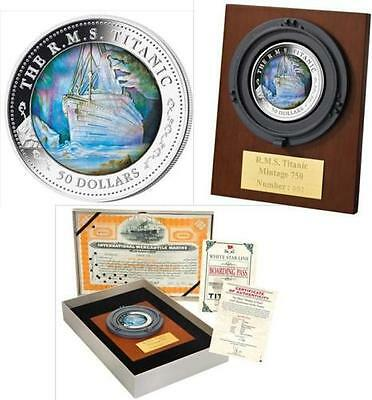 2012 $50 Fiji Titanic 5Oz Silver Proof Coin  Mother Of Pearl 100Th Anniversary