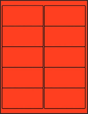 "1000 Laser Labels 2 x 4""  Fluorescent Red  10 UP  Format 10/page"