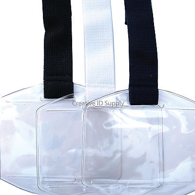Arm Band Photo ID Vinyl Badge Holder Vertical with Black/White/Navy Blue Strap
