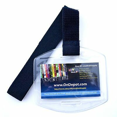 Arm Band Photo ID Badge Holder Vertical with Navy Blue (dark blue) Elastic Strap