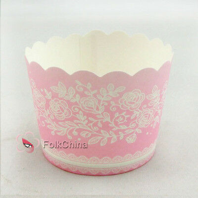 Pink Flower Small Cake Baking Paper Cup Cupcake Muffin Cases Wedding Party