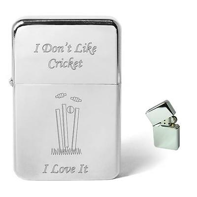Personalised I Dont Like Cricket Gift Petrol Lighter Birthday Present Dad Owzat