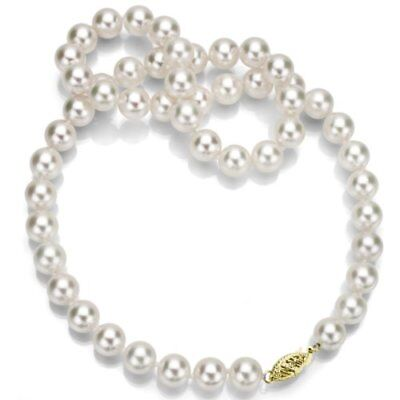 """14k Yellow Gold 6.5-7mm White Japanese Saltwater Akoya Pearl Necklace 18"""" Length"""