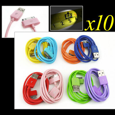 10X 8-Color 6Ft Usb 30Pin Cables Data Sync Charger For Galaxy Tab 7 8.9 10.1