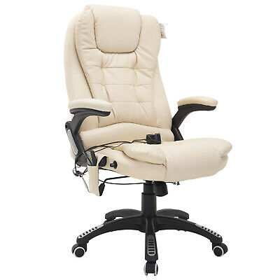 HOMCOM Heating Massage Office Managerial Chair Reclining Leather Swivel Armrest