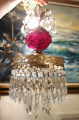 1 Fenton RUBY Cranberry Poppy brass Glass Crystal SWAG Lamp Chandelier Vintage