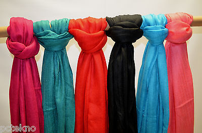 Lot of 6 Pashmina Silk Shawl Long Scarf Stole Wrap NIP