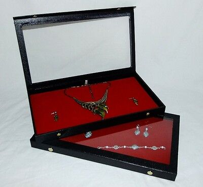 Clear Top Jewelry Display Cases With Red Pad Package Of 2