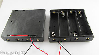 """Plastic Battery Storage Case Box Holder for 4 X 18650 Black with 6"""" Wire Leads"""