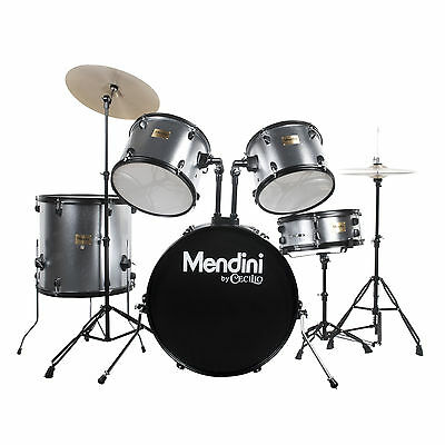 Mendini Silver 5 Piece Complete Adult Drum Set Poplar Shell W/ Cymbal & Hardware