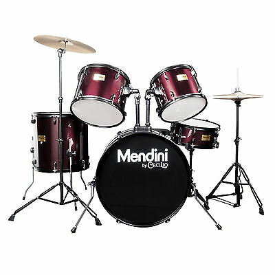 Mendini Wine Red 5 Pcs Complete Adult Drum Set Poplar Shell W/ Cymbal & Hardware
