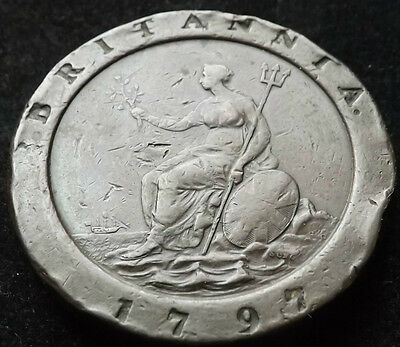 1797 George Iii Cartwheel Twopence Coin Great Grade
