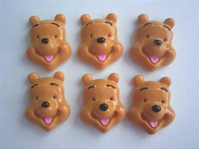 BB FLATBACKS WINNIE THE POOH pk of 6 cabochons resin flatback disney  flat backs
