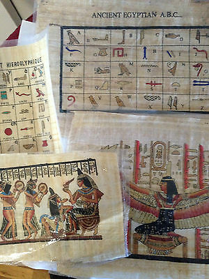 Set Of 4 Ancient Egyptian Papyrus Wonderfully Handmade Colorful Piece