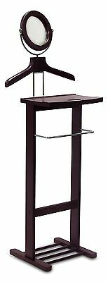 Solid Wood Mens Jacket Suit Valet Stand with Mirror and Drawer Espresso New