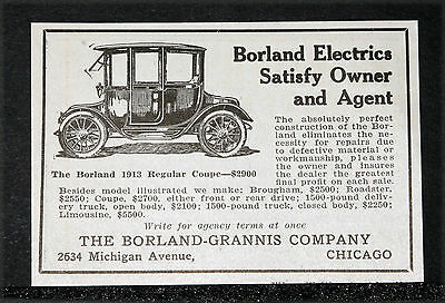 """1913 Old Magazine Print Ad, Borland """"regular Coupe"""" Electric Car, A Full Line!"""