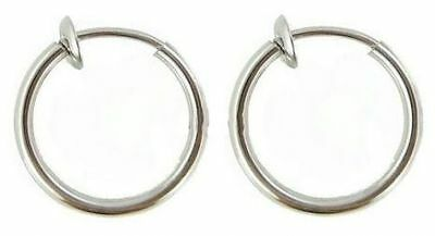 2 Fake Piercing Hoop Rings Clip On Lip Nose Ear Tragus Helix Daith Cartiage 8mm