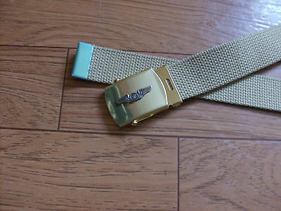 MILITARY STYLE BLACK WEB BELT WITH AIR CREW WINGS INSIGNIA BRASS BUCKLE