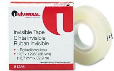 "Legacy  Brand or Universal Brand  Invisible Tape 1/2"" x 1296"" 12  Rolls"