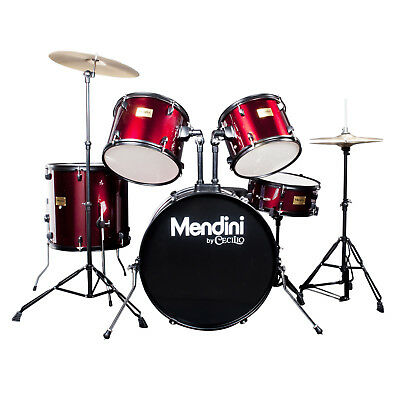 Mendini Bright Red 5 Pcs Complete Adult Drum Set Poplar Shell +Cymbal & Hardware