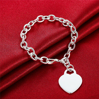 Stunning 925 Sterling Silver Solid Bracelet Heart Tag Love Pendant Chain Link