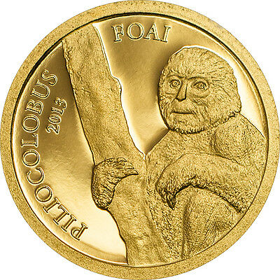 Central African Republic 2013 Piliocolobus Foai gold coin Red Colobus Monkey