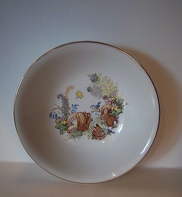 Old Foley James Kent Children's Bowl with Squirrels Rabbits Mushroom