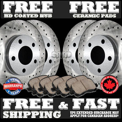 P0348 Front+ Rear 4 Performance Drilled Brake Rotors And 8 Ceramic Pads