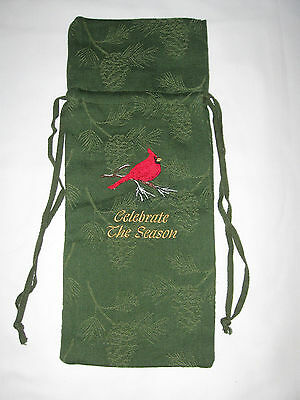 "NWT Green Holiday Wine Bottle Cloth Gift Bag ""Celebrate the Season"" Embroidery"
