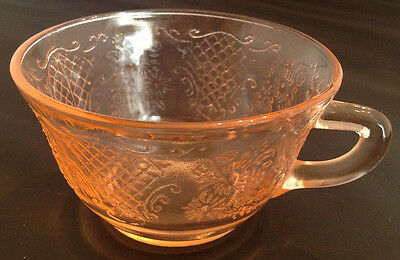 Depression Glass Sherbet & 4 cups, Pink Normandie Pattern, Federal Glass Company