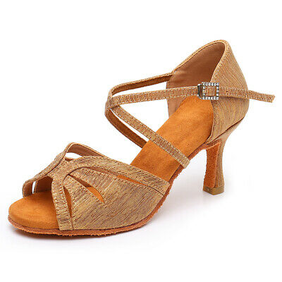 Brand New Women's Ballroom Latin Tango Dance Shoes heeled Salsa Black Brown 230