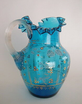 Antique Victorian Pitcher c.1890's TURQUOISE Color Glass Enameled & Gilded