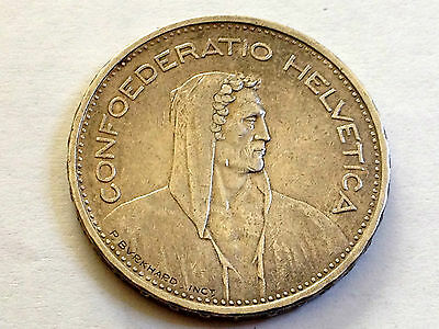 1932-B Switzerland Five Silver Francs Nice Grade Coin