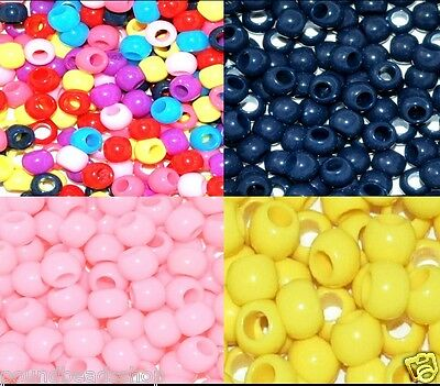 100 pcs plastic pony beads, round, assorted colour, 8 x 6 mm*