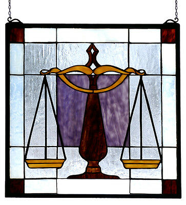 "ATTORNEY/JUDGE Stained Glass Window by MEYDA TIFFANY 18"" x 18"" Handcrafted, New"
