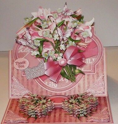 Handmade Greeting Card 3D Easel With Pink Lilies Any Occasion